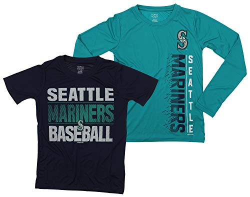 (Outerstuff MLB Boys Young Baseball Fan Two Performance T-Shirt Set, Seattle Mariners, Small 8)