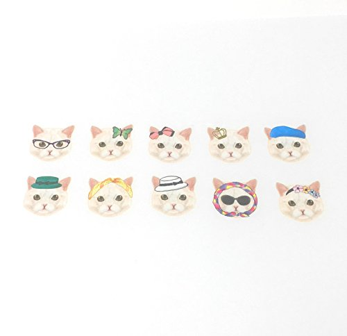 Bande Tape Masking Stickers Classical & Fem White Cat Face for Scrapbooking DIY (BDA001)