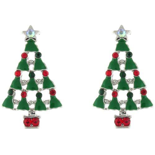 Green Enamel Christmas Tree (Clip On Earrings Store Green Enamel and Multi Crystal Christmas Tree and Angel Clip on Earrings)