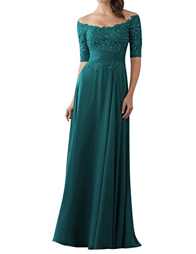 Evening Dresses Mother of The Bride Gowns with Sleeves Lace Long Chiffon Beaded Peacock - Gown Sleeve