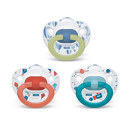 NUK Orthodontic Pacifier Value Pack, Boy, 6-18 Months (Pack of 3)