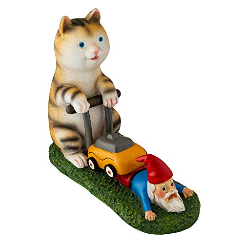 Holidayana Yard Figurine, Gnome Deterrent Lawn Mower Cat, Anti-Gnome Society, Outdoor or Indoor Decoration