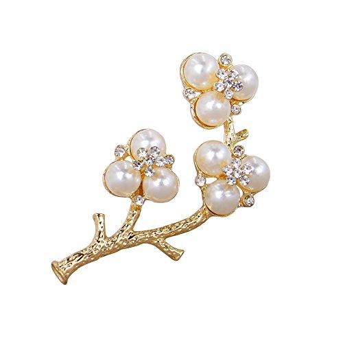 Winter's Secret White Pearl Brooches The Plum Blossom Paragraph Three Lane Elegant Wedding Bride Corsage