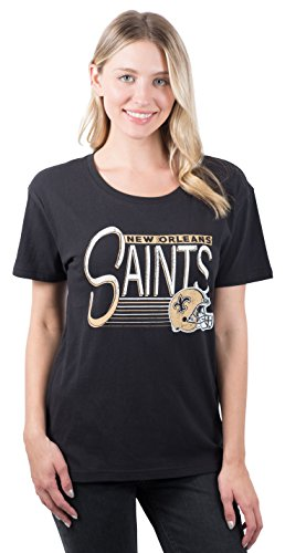 Icer Brands NFL New Orleans Saints Women's T-Shirt Scoop Neck Short Sleeve Tee Shirt, Medium, Black -