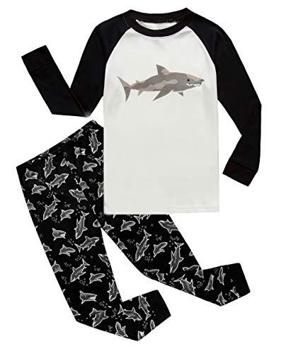 Shark Little Boys Long Sleeve Pajamas 100% Cotton Pjs Size 6