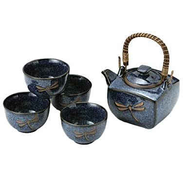 Happy Sales Japanese Dragonfly Tea Pot and Tea Cups Set in Blue - 5 Pieces
