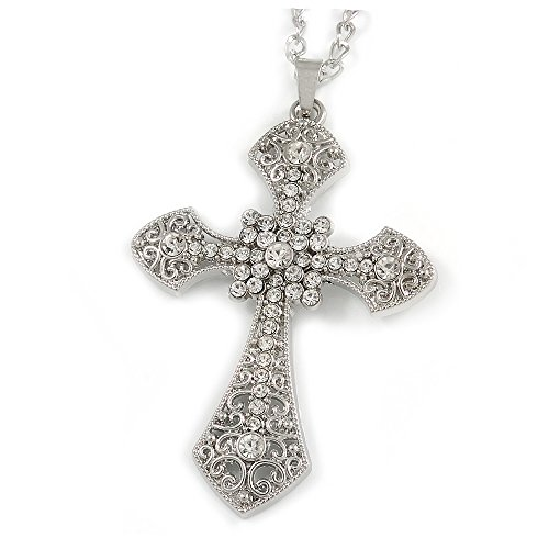 Avalaya Large Crystal Filigree Cross Pendant with Chunky Long Chain in Silver Tone - 70cm L