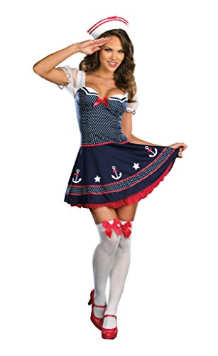Dreamgirl Womens Ship Happens Sailor Outfit Fancy Dress Sexy Costume, XL (14-16) (Cheap Fancy Dress Outfits)