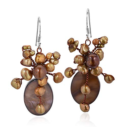 Cute Brown Mother of Pearl and Cultured Freshwater Pearl Teardrop Shower Dangle Earrings ()