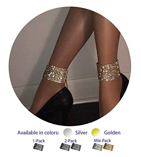 ZeeMoe Fashion Sexy Thick Sparkly Bracelet Anklet (Golden 1 Piece)
