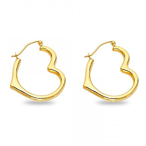 Heart Hoop Earrings Solid 14k Yellow Gold French Lock Polished Finish Fancy Design New 20 x 4 mm