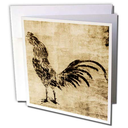 3dRose Scenes from The Past Magic Lantern Slides - Crowing Rooster Sesshu Toyo 1500s Vintage Japanese Folk Art - 1 Greeting Card with Envelope ()