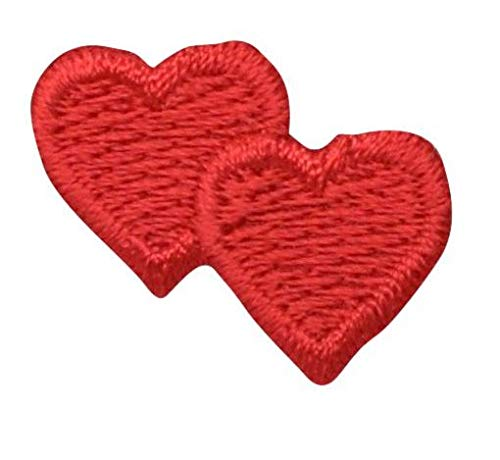 Valentine Double Red Heart Iron on Embroidered Patch -