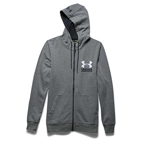 Under Armour Tri Blend Fleece Full Zip Hoody - Men's Greyhound Heather / Asphalt Heather / White Medium
