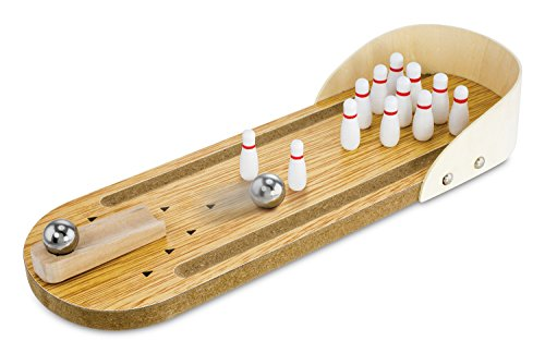 KOVOT Mini Wooden Tabletop Bowling Game Bowling Table