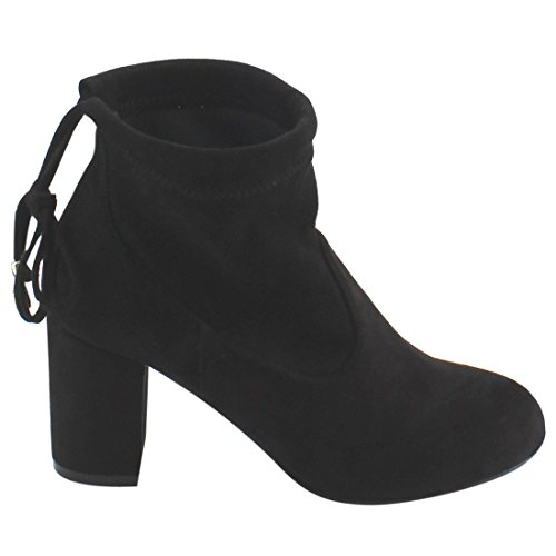 Ankle Block Up Booties Ankle Beston Women's FC76 Tie Small Size Black One Heel qw0n4pX