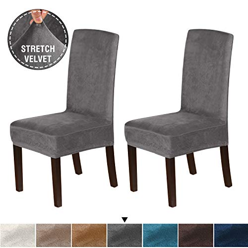 H.VERSAILTEX Velvet Plush Dining Room Chair Slipcovers Stretch Chair Covers for Home Decor Washable Removable High Dining Chair Protector Cover for Dining Room Set of 2, Gray