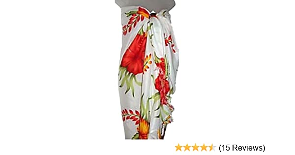 ade577d34ca Hawaiian Floral Long Sarong- White w  Red   Orange Hibiscus Tropical  Flowers Beach Cover Up Wrap at Amazon Women s Clothing store  Swimwear  Cover Ups