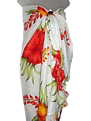 Hawaiian Floral Long Sarong- White w/ Red & Orange Hibiscus Flowers Beach Cover Up