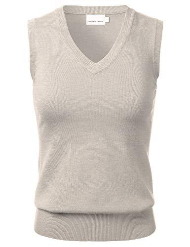 Women's Solid Classic V-Neck Sleeveless Pullover Sweater Vest Top Khaki L