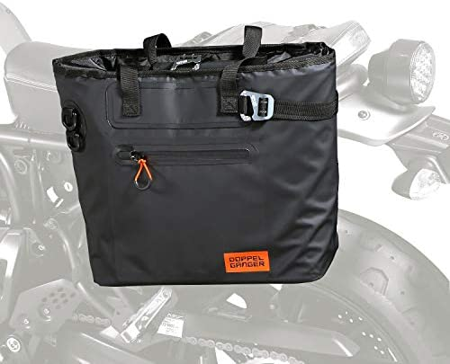 DOPPELGANGER(ドッペルギャンガー)ターポリンシングルサイドトートバッグ【バイク用サイドバッグ】防水ターポリン仕様 普段遣いできる容量、簡単着脱フック、二人乗りOK、スタイル重視トートバッグ型 DBT510-BK ブラック W42 ×L(D)18× H32cm(バッグ本体)