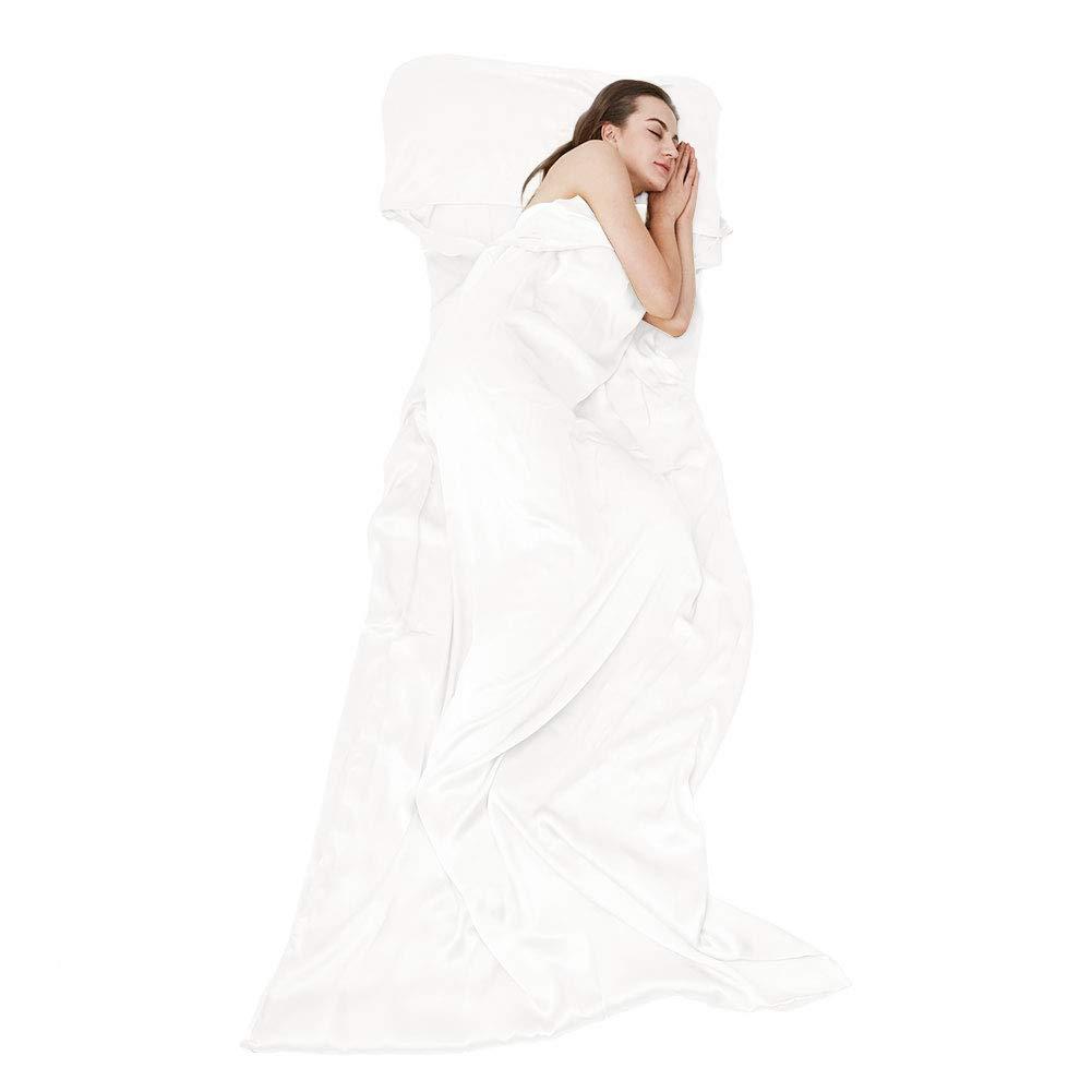 THXSILK Naturally 100% Mulberry Silk Travel Sheet Camping Sheet Sleeping Bag Liner - Soft & Lightweight Sleep Bag Outdoor Picnic, Hotel, Adventurous Travelers, White, 41'' x 86'' by THXSILK
