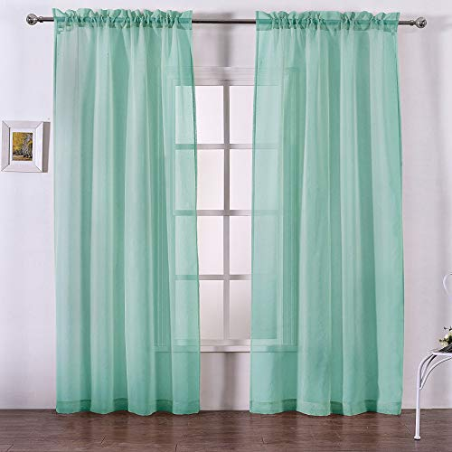 DWCN Sheer Curtains Linen Look Rod Pocket Living Room Curtains Window Curtain Panels