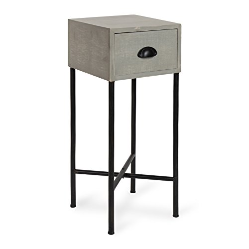 Kate and Laurel Decklyn Wood Side Accent Table with Drawer, Gray