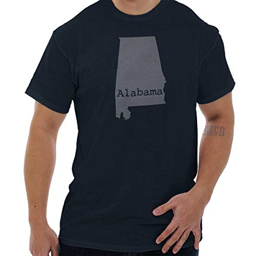 Classic Teaze Alabama State Map Shape Souvenir AL Pride T Shirt Tee Navy ()