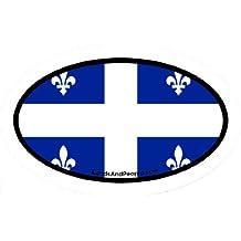 Quebec Canada Flag Car Bumper Sticker Decal Oval