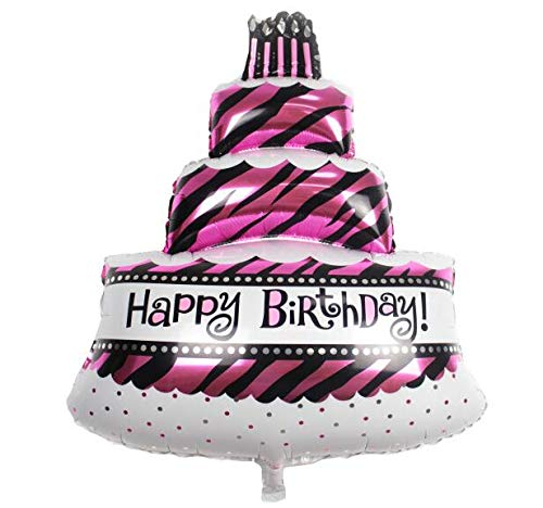 Prime Smart Three Layers Pink Happy Birthday Cake Foil Balloons Party Personalised Birthday Cards Bromeletsinfo