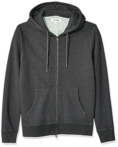 Goodthreads Men's Fullzip Fleece Hoodie, Charcoal Heather, Large