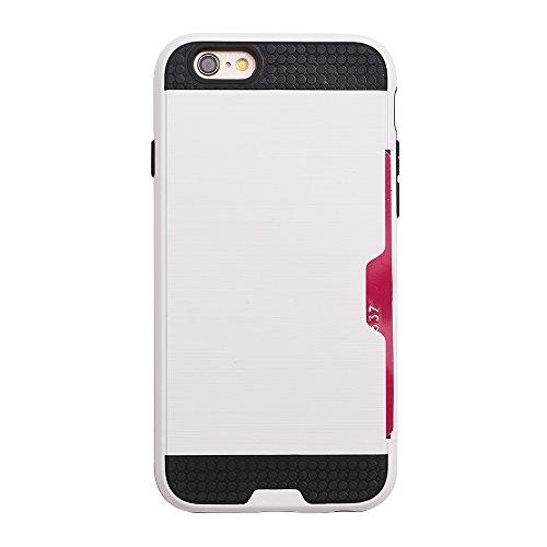 """iProtect Apple iPhone 6 (4,7"""") TPU+PC Hybrid Hülle Hard Case Schutzhülle mit Fach schwarz und weiß"""
