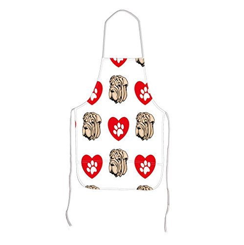 Shar Pei Dog Heart Paws Adjustable Bib Kitchen Apron Starfactr