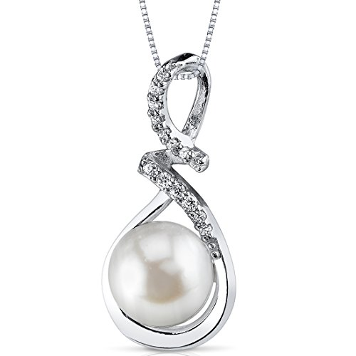 Sleek 9.0mm Freshwater Cultured White Pearl Pendant Necklace in Sterling Silver