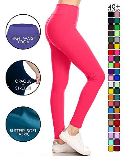 - LYR128-FUCHSIA Yoga Solid Leggings, One Size