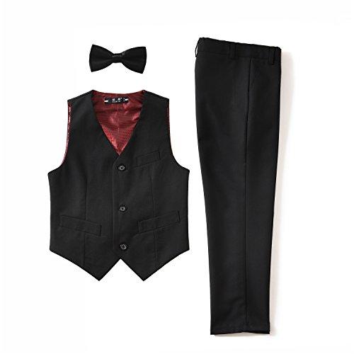 Yuanlu 3 Piece Kids Boys' Formal Vest and Pants Dress Suits Set for Party Black Size 12
