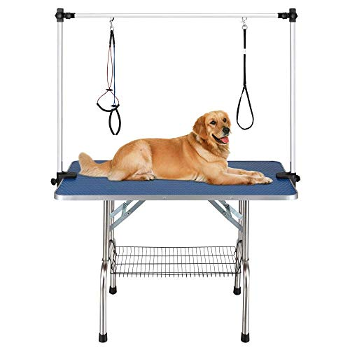 QAQA Professional Pet Dog Grooming Table with Adjustable Overhead Arm, 36″ Heavy Duty Foldable Stainless Steel Table with Noose,No-Sit Haunch Holder and Mesh Tray
