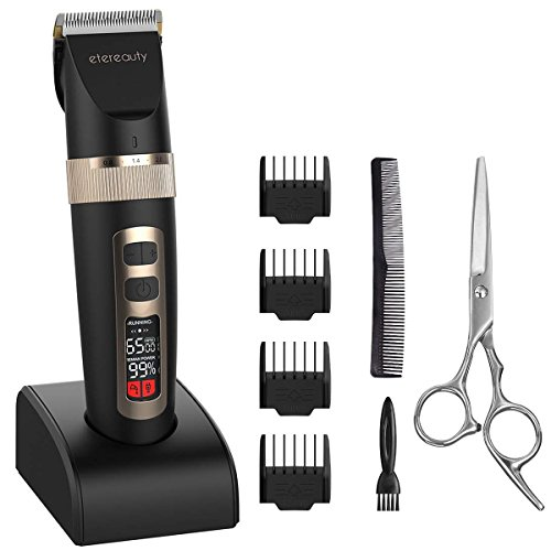 Price comparison product image Hair Clippers for Men, ETEREAUTY Cordless Rechargeable Hair Trimmer, Hair Cutting Kit with LCD Display and 3 Adjustable Speeds for Boy, Kids and Babies