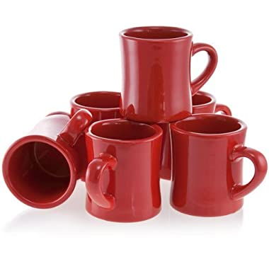 Diner Coffee Mugs Red Set of 6