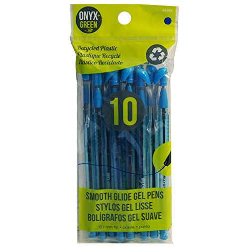 Onyx and Green 10-Pack Gel Pens, Recycled Plastic, Hybrid Oil-Based Gel, Blue ()
