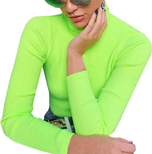 Orangeskycn Women Fashion Turtleneck Rib Dressy Solid Long Sleeve Blouse