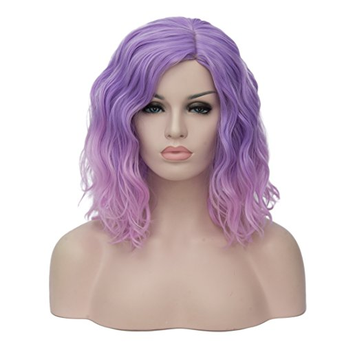 (Cying Lin Short Bob Wavy Curly Wig Pink Ombre Wig For Women Cosplay Halloween Wigs Heat Resistant Bob Party Wig)