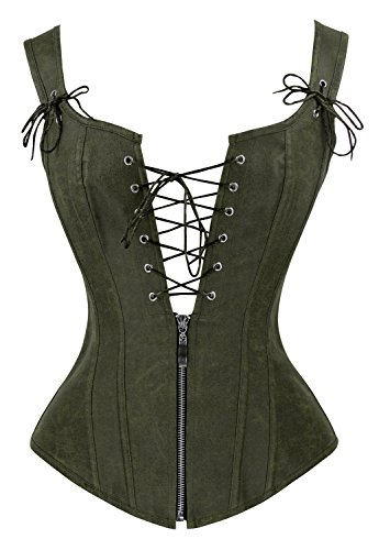 Charmian Women's Vintage Renaissance Lace Up Bustier Corset with Garters Olive Large ()