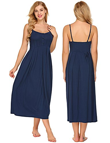 Acecor Womens Soft Button Down Nightgown Sleeveless Sleepwear Long Chemise Night Dress(Dark Blue (Nightgown Long Chemise)