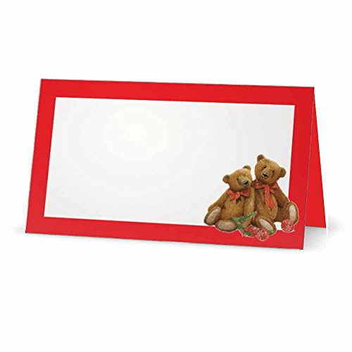 Teddy Bears Red Christmas Place Cards - Flat or Tent - 10 Pack - White Blank Front with Border - Placement Table Name Seating Stationery Party Supplies - Occasion or Dinner Event (Tent Style)