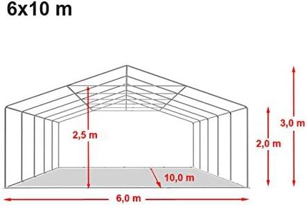 TOOLPORT Carpa de Fiesta 6x10 m Lona PVC Aprox. 500g/m² 100% Impermeable con Estructura de Suelo Blanco: Amazon.es: Jardín
