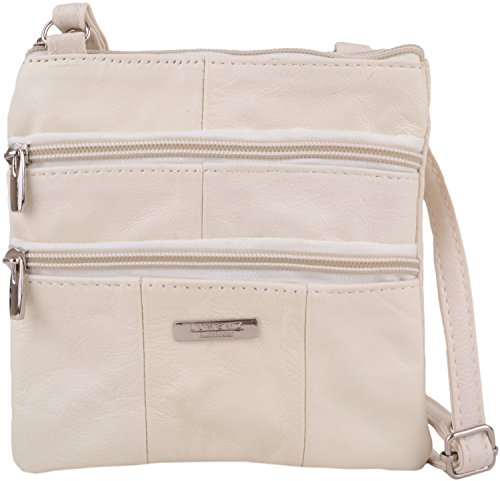 Ladies / Womens Small Leather Cross Body / Shoulder Bag with Multiple Features - Winter White