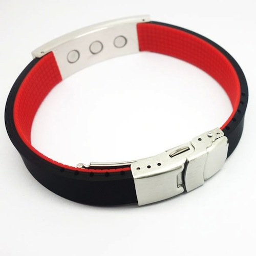 Excel Sports Negative ion Power Silicone Bracelet Black Red F-14 Adjustable Metal Gift Box