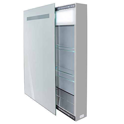 | LED Medicine Cabinet 18 Inch X 30 Inch | Lighted Sliding Mirror Includes Electrical Outlet + 2 Glass Shelves | by Krugg
